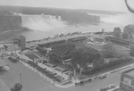 (Thumbnail) Aerial view of Oakes Garden Theatre, Horseshoe and American Falls in background, Memorial Arch centre left (image/jpeg)