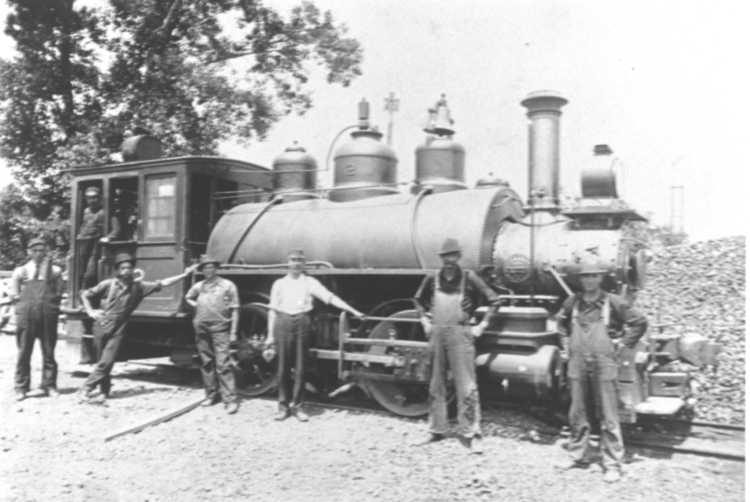 Workmen pose for a Picture by a Train, ca 1919 (image/jpeg)