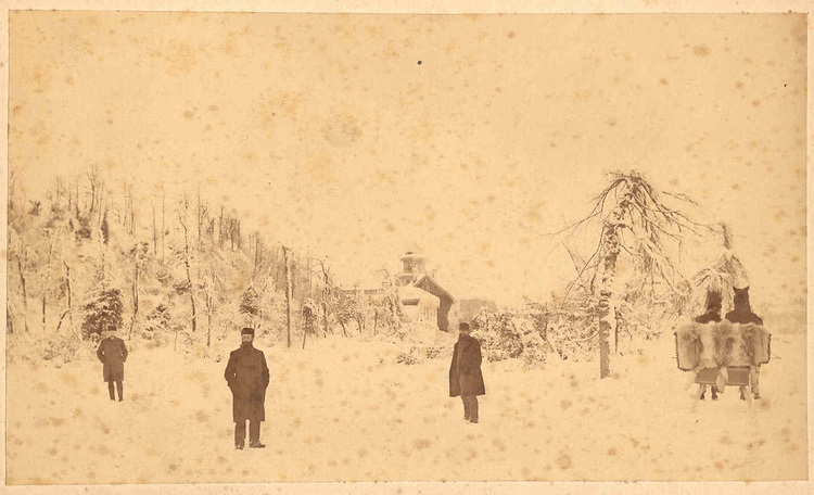 First employees of the Niagara Parks Commission in Queen Victoria Park in winter, Table Rock House in background (image/jpeg)