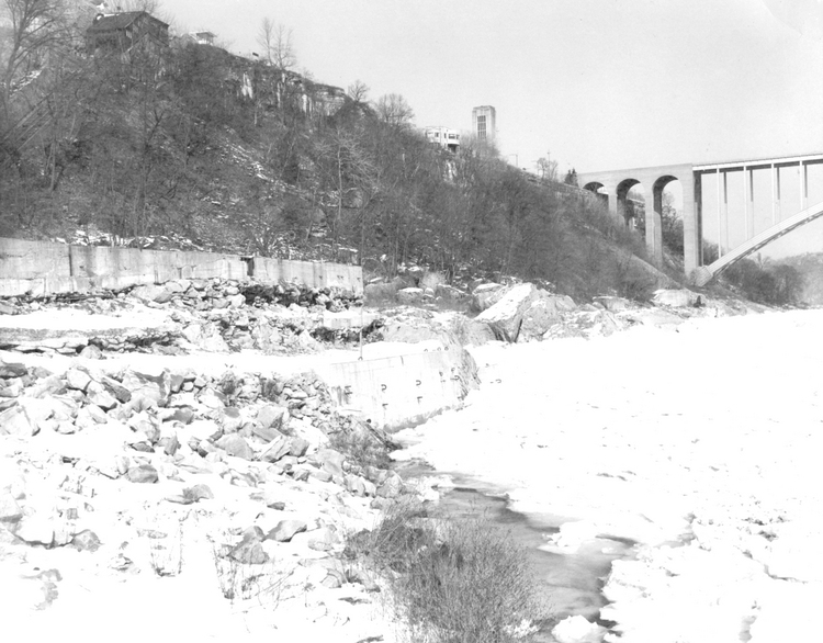 The Niagara Gorge in winter -Rainbow Bridge and Carillon Tower in background (image/jpeg)