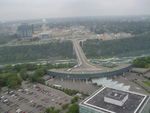 (Thumbnail) Aerial View of the Rainbow Bridge, American Customs, and Niagara Falls, Ontario (image/jpeg)