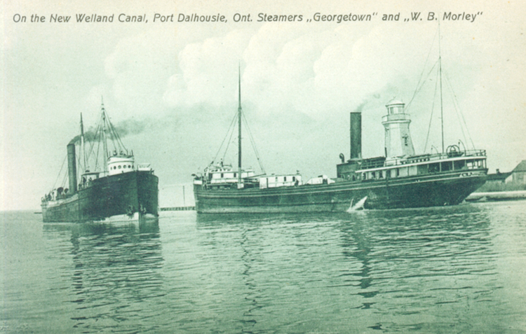 On the new Welland Canal Port Dalhousie Ont [Ontario] steamers Georgetown and W B Morley (image/jpeg)