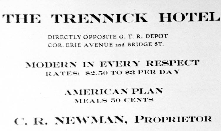 Advertising for the Trennick Hotel Bridge Street Niagara Falls (image/jpeg)