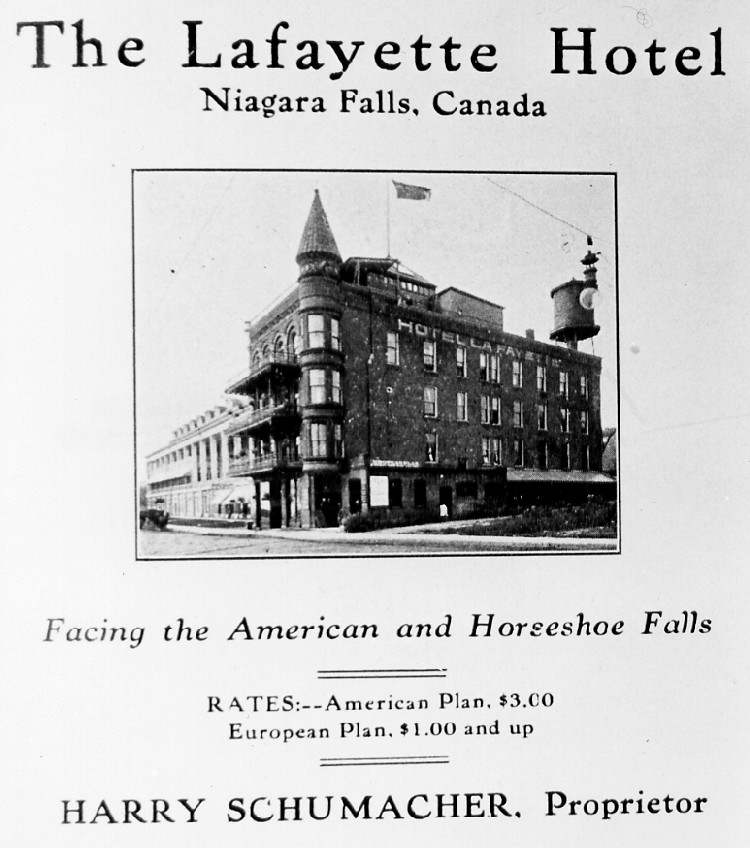Advertisment from an unknown publication for the Lafayette Hotel Niagara Falls (image/jpeg)