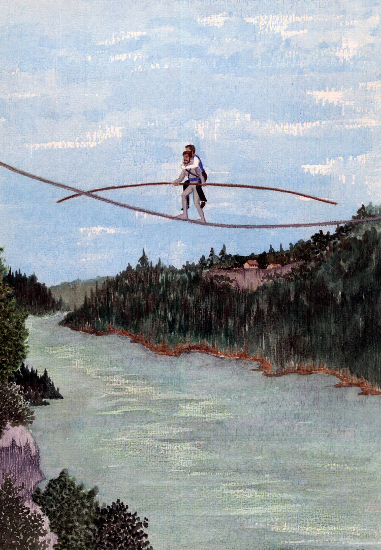 Blondin carrying Colcord over the Niagara River - Details
