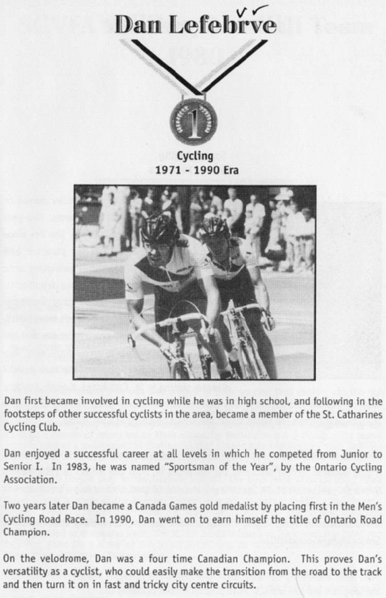 Niagara Falls Sports Wall of Fame - Dan Lefebvre Cycling 1971 - 1990 era (image/jpeg)