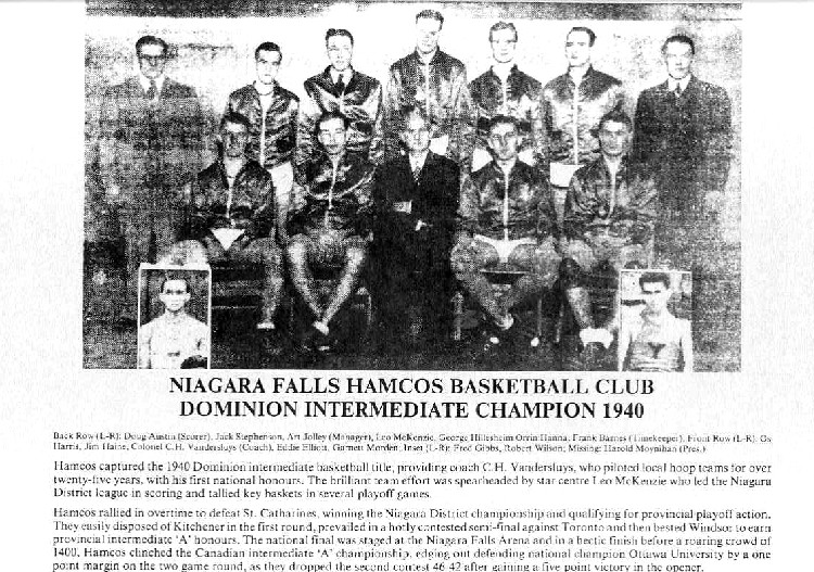 Niagara Falls Sports Wall of Fame - Hamcos Basketball Club 1940 era 1900 - 1950 (image/jpeg)