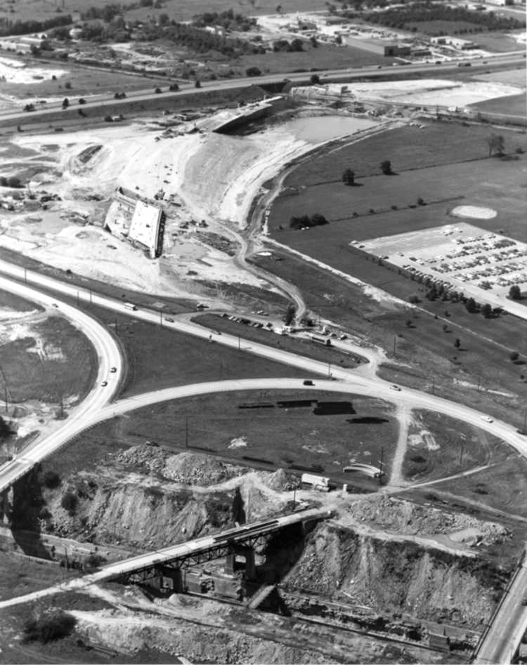 Aerial view of construction on the New QEW Traffic Circle - Details