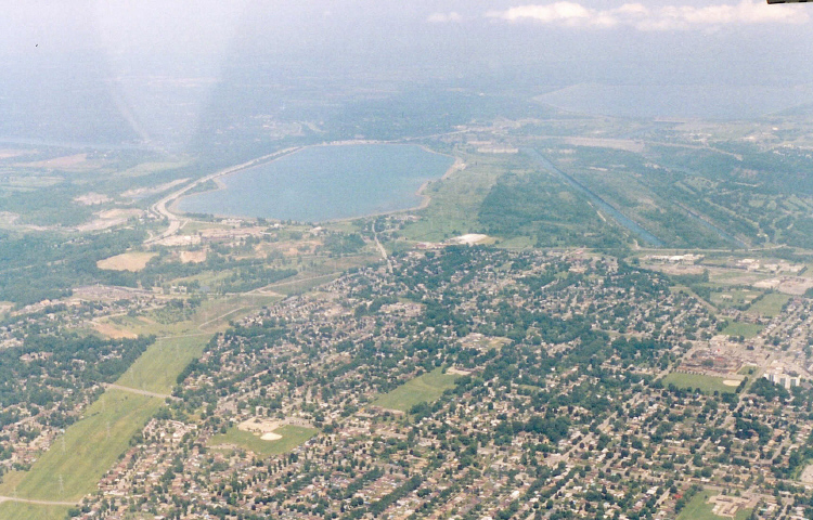 Aerial View of Niagara Falls, Ontario, Power Canal and Queenston &amp; Lewiston Reservoirs (image/jpeg)