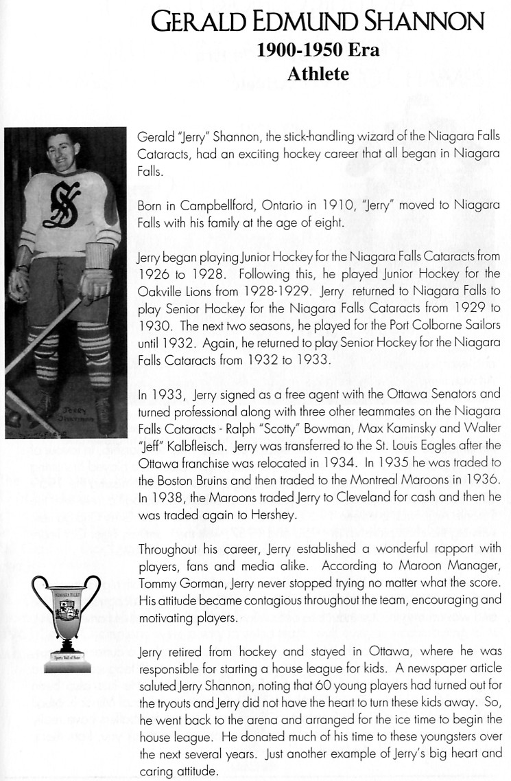 Niagara Falls Sports Wall of Fame - Gerald Edmund Shannon Athlete Hockey 1900 - 1950 era (image/jpeg)