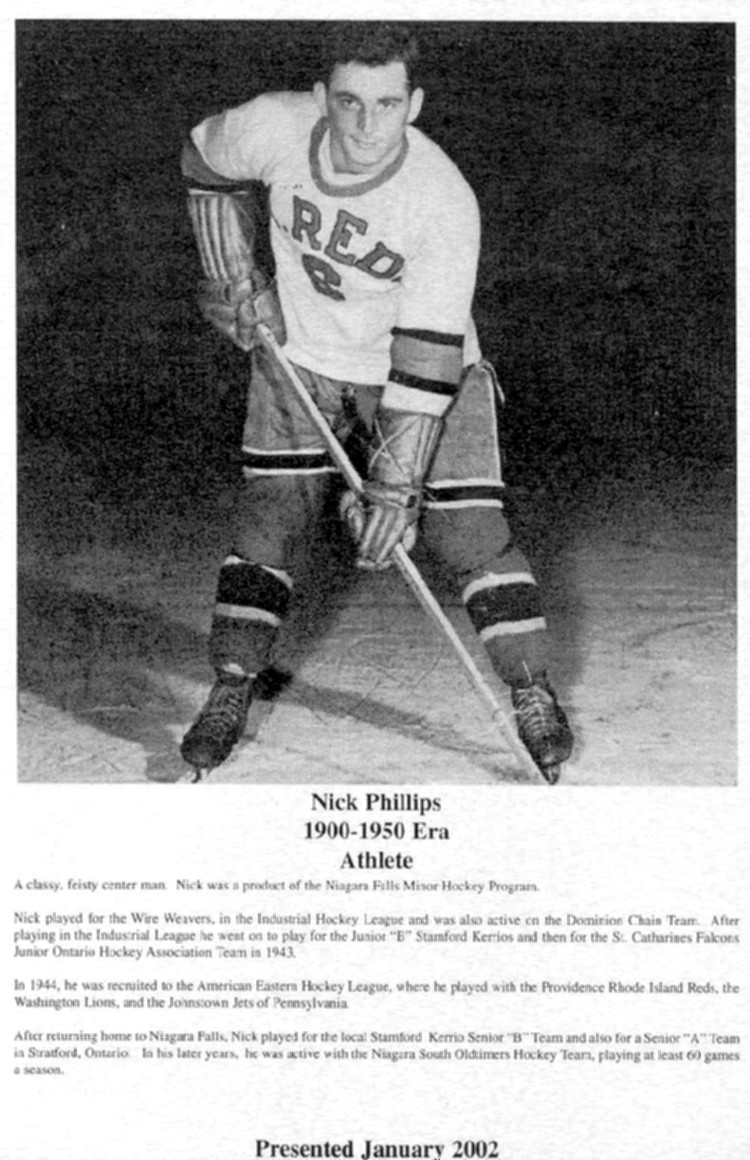 Niagara Falls Sports Wall of Fame - Nick Phillips Athlete Hockey era 1900 - 1950 (image/jpeg)