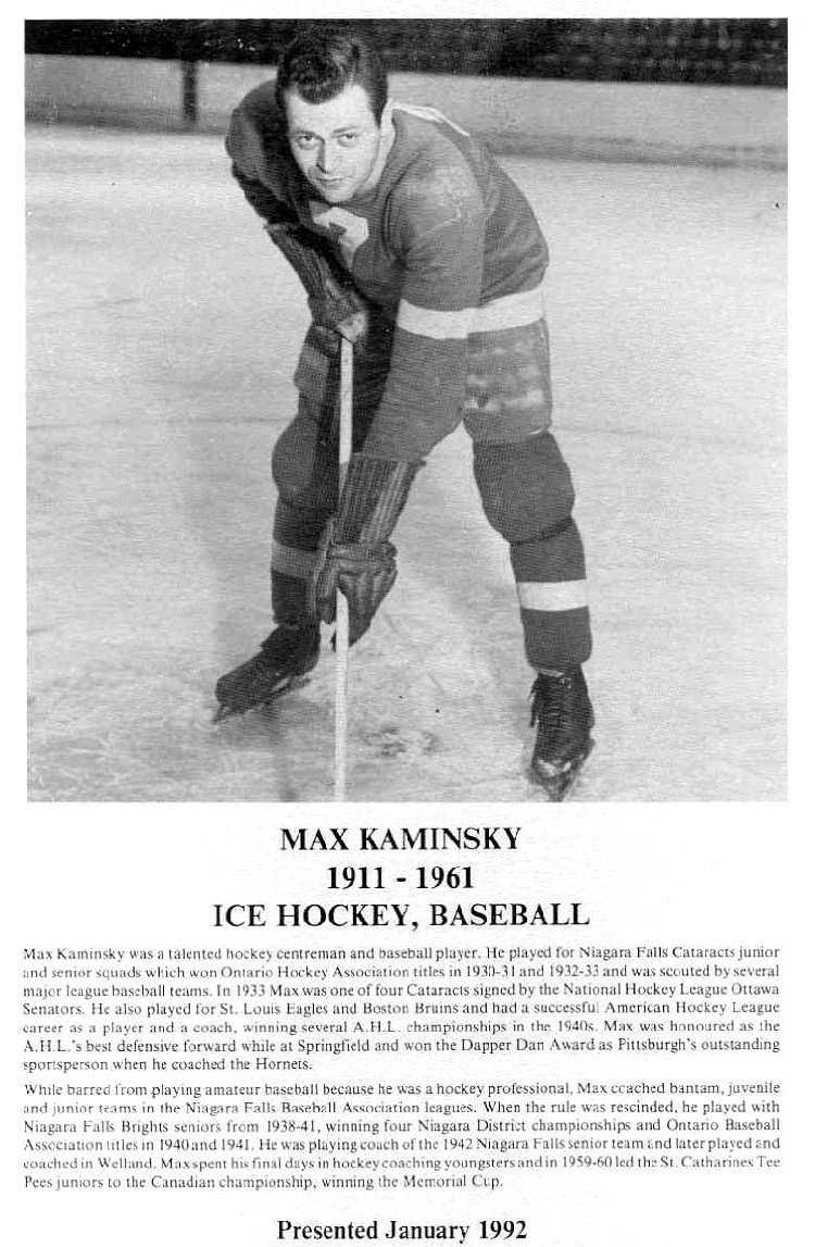 Niagara Falls Sports Wall of Fame - Max Kaminsky 1911 - 1961 Athlete Baseball (image/jpeg)