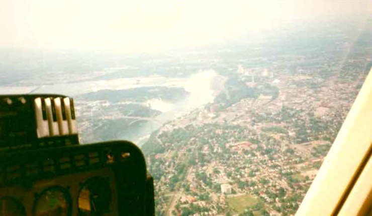 Aerial view of American and Horseshoe Falls from the cockpit of a helicopter (image/jpeg)