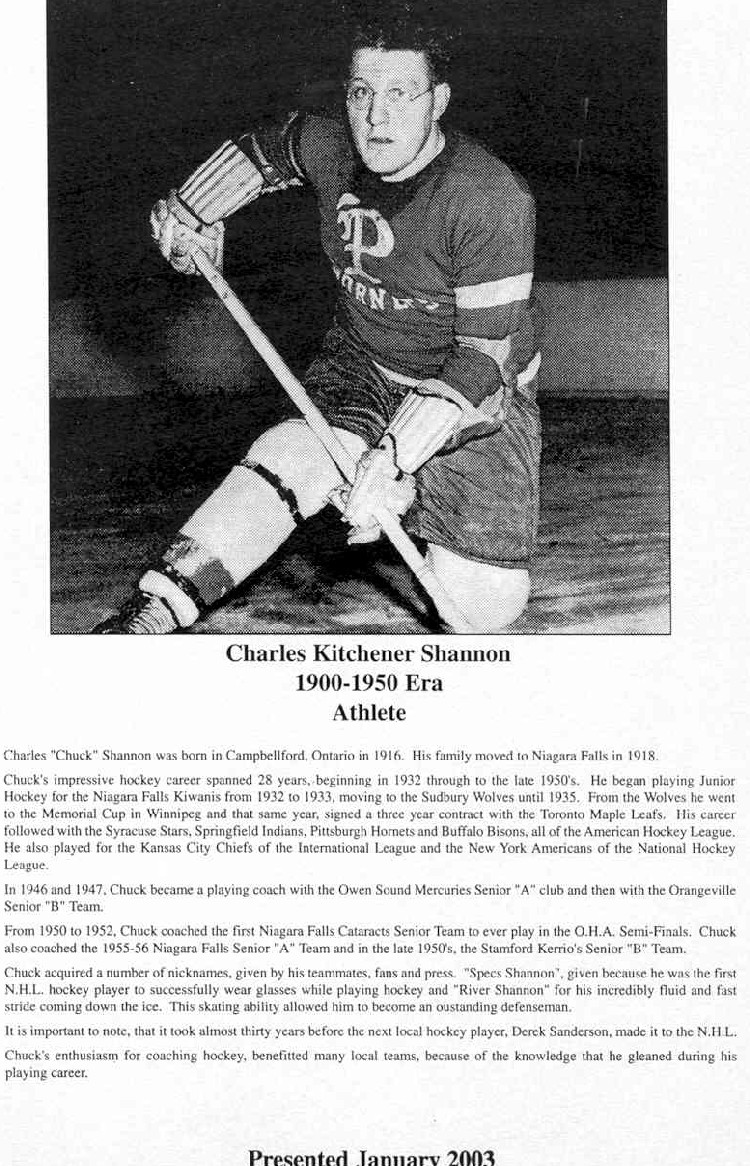 Niagara Falls Sports Wall of Fame - Charles Kitchener Shannon Athlete Hockey 1900 - 1950 era (image/jpeg)