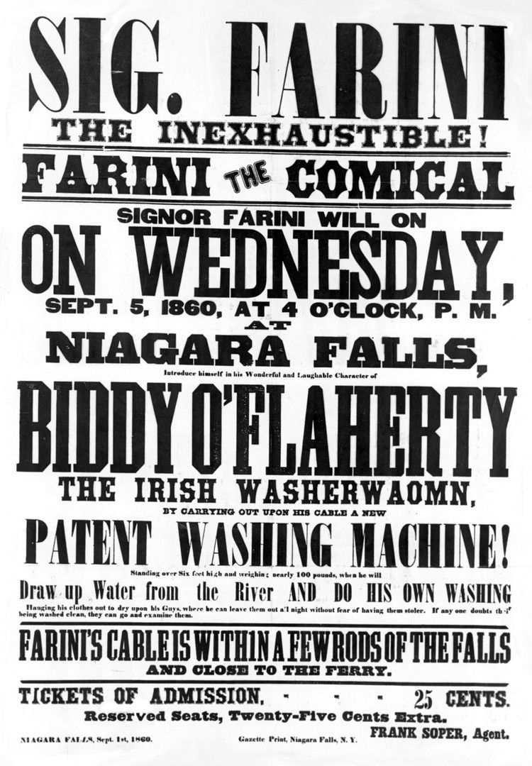 Advertisement of Stunt to be Performed by Farini - 1860 (image/jpeg)