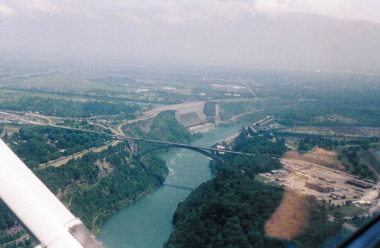 Aerial View of Queenston-Lewiston Bridge, Robert Moses Power Plant, and the Niagara Gorge (image/jpeg)
