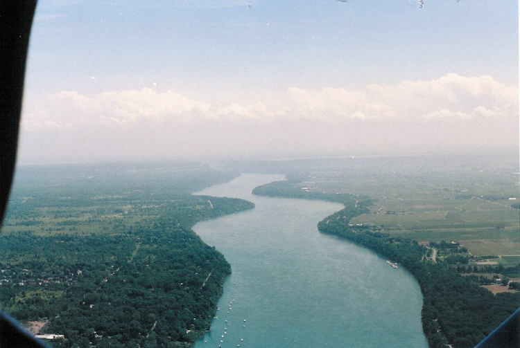 Aerial View of the Niagara River from above Niagara-on-the-Lake Looking Upriver (image/jpeg)