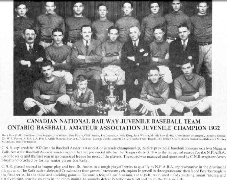 Niagara Falls Sports Wall of Fame - Canadian National Railway CNR Juvenile Baseball Team 1932 - Ontario Baseball Amateur Association Juvenile Champion 1932 (image/jpeg)