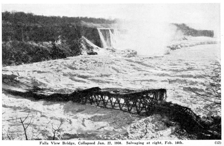 Fallsview [Falls View] Bridge, collapsed Jan. 27 1938, salvaging at right, Feb. 16th (image/jpeg)