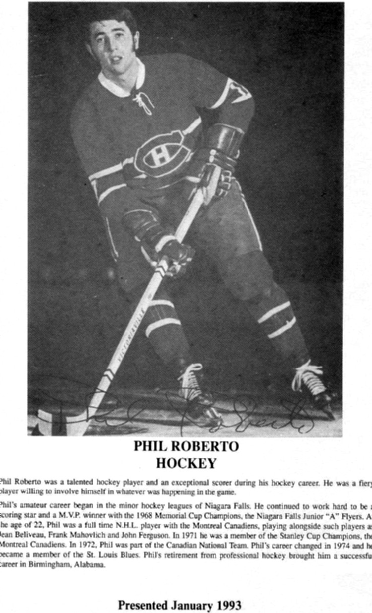Niagara Falls Sports Wall of Fame - Phil Roberto Athlete Hockey era 1951 - 1970 (image/jpeg)