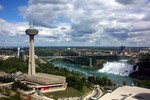 (Thumbnail) Aerial View of the Skylon Tower, the Rainbow Bridge, the Americal Falls, the Lower Niagara River and the Prospect Point Observation Tower (image/jpeg)