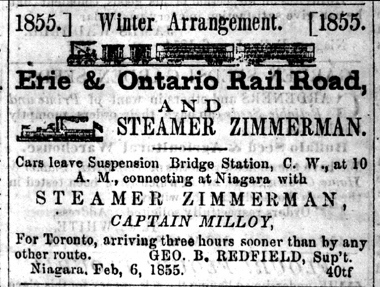 Advertising for the Erie & Ontario Rail Road and Steamer Zimmerman 1855 (image/jpeg)