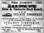 (Thumbnail) Advertising for the Erie & Ontario Rail Road and Steamer Zimmerman 1855 (image/jpeg)
