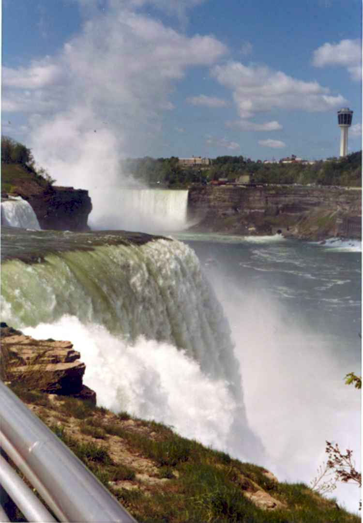 American and Horseshoe Falls and the Minolta Tower from Prospect Point  Niagara Falls New York (image/jpeg)