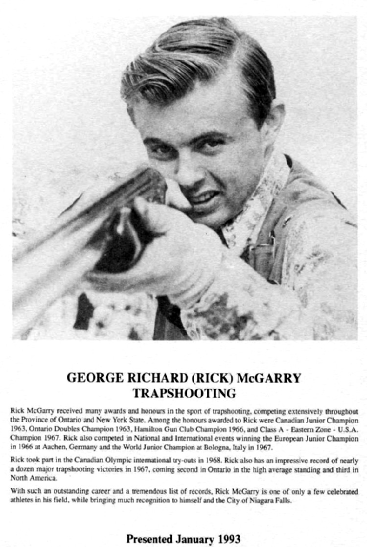 Niagara Falls Sports Wall of Fame - George Richard (Rick) McGarry Trapshooting era 1951 - 1970 (image/jpeg)