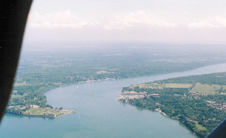 Aerial View of the Mouth of the Niagara River, Fort George, Fort Niagara and Niagara-on-the-Lake (image/jpeg)