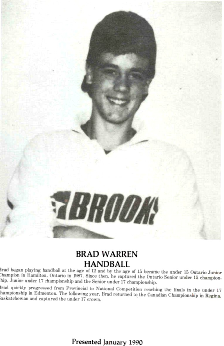 Niagara Falls Sports Wall of Fame - Brad Warren Athlete Handball (image/jpeg)