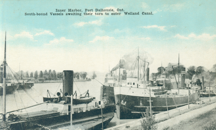 Inner Harbor Port Dalhousie Ont [Ontario] south-bound vessels awaiting their turn to enter Welland Canal (image/jpeg)