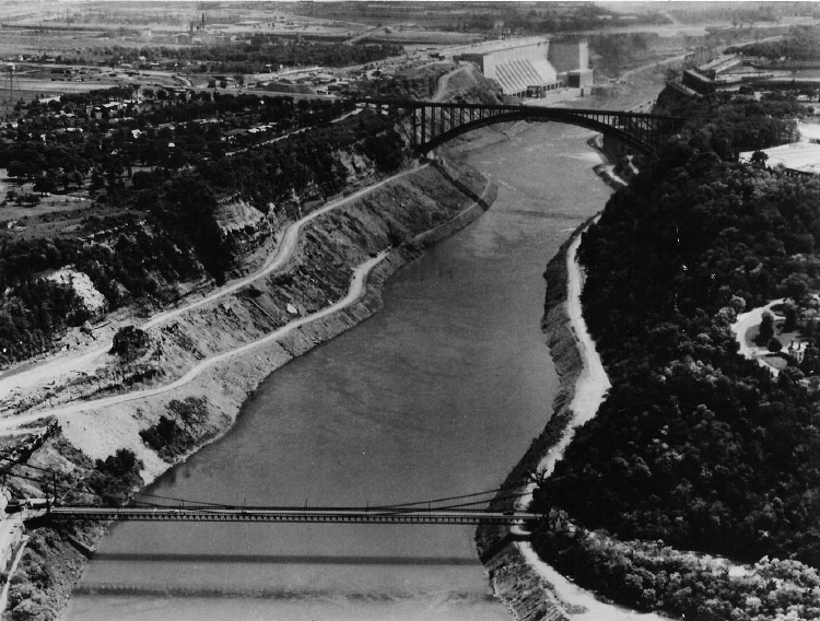 """Aerial View of the Lewiston-Queenston Suspension and Arch Bridges - """"The Old and the New"""" (image/jpeg)"""
