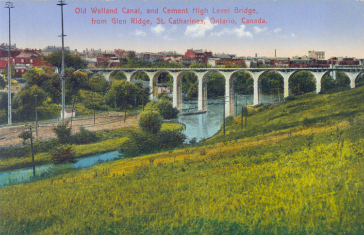Old Welland Canal And Cement High Level Bridge From Glen Ridge St Catharines Ontario Canada (image/jpeg)