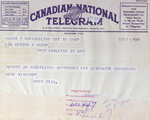 (Thumbnail) Telegram received by Veron Rae Ward of Niagara Falls to report for his discharge papers (image/jpeg)