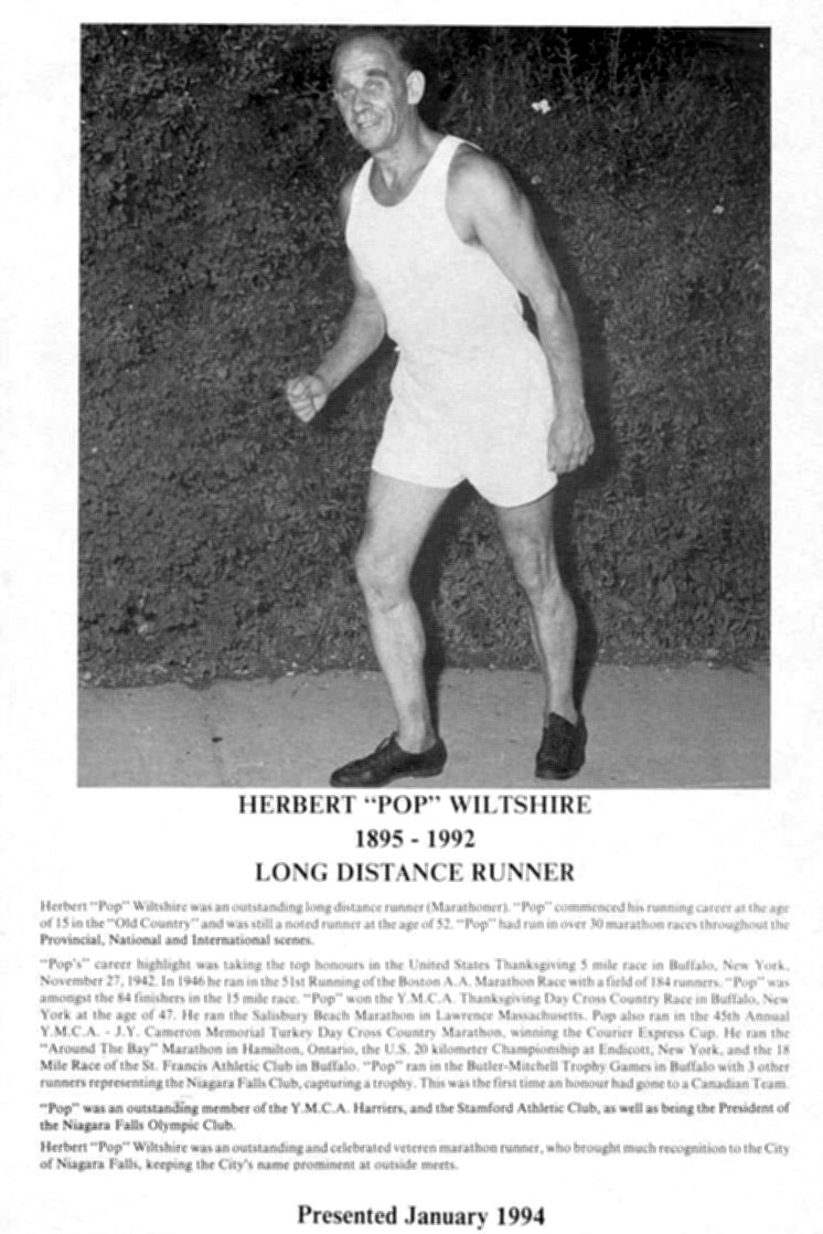 Niagara Falls Sports Wall of Fame - Herbert (Pops) Wiltshire 1895-1992 Long Distance Runner (image/jpeg)