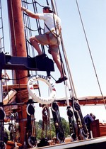 (Thumbnail) Last voyage of the Bluenose II through Welland Canal and the Great Lakes -close-up of rigging (image/jpeg)