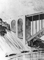 (Thumbnail) Architects drawing of the bridge abutments for the Rainbow Bridge at Niagara Falls (image/jpeg)