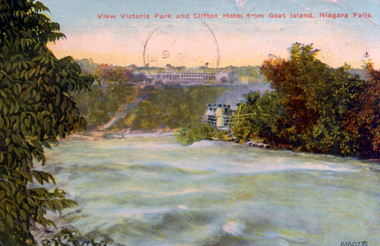 View Victoria Park and Clifton Hotel from Goat Island, Niagara Falls (image/jpeg)