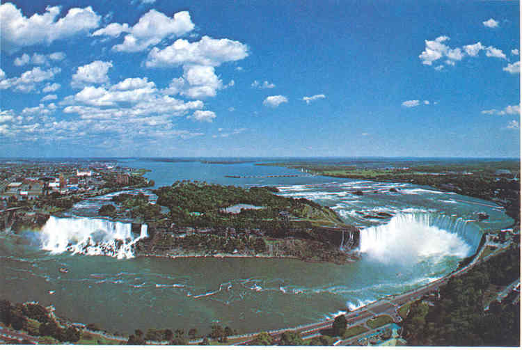 Aerial View of Goat Island and both Falls. (image/jpeg)