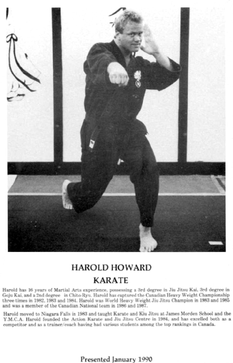 Niagara Falls Sports Wall of Fame - Harold Howard Karate 1971 - 1990 era (image/jpeg)