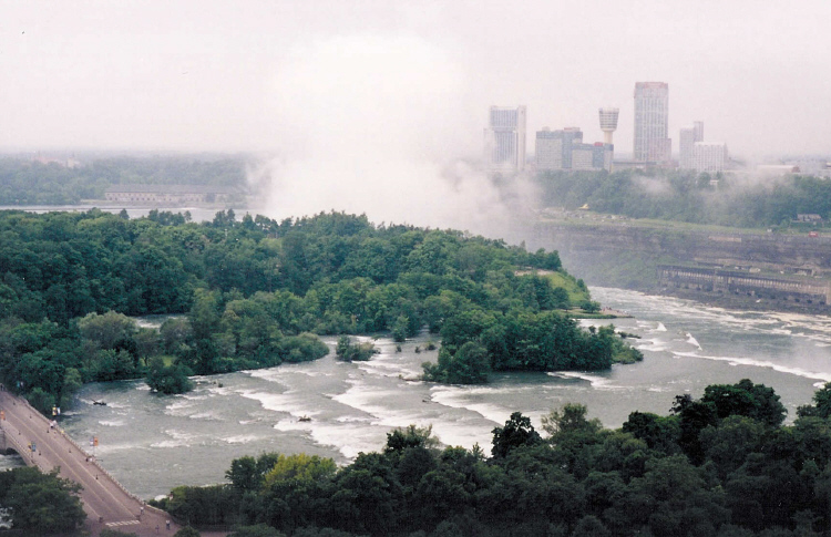 Aerial View of Goat Island and the Skyline of Niagara Falls, Ontario (image/jpeg)