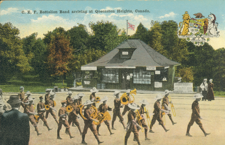 CEF Battalion Band arriving at Queenston Heights, Canada (image/jpeg)