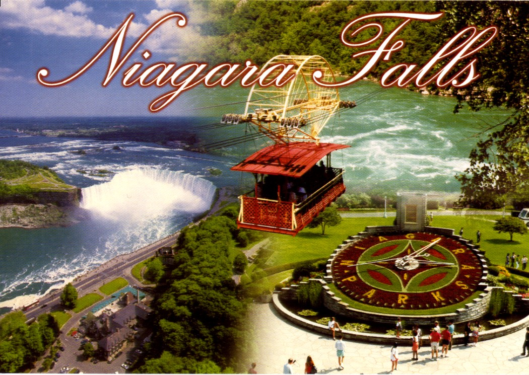 Aerial view of the Canadian Falls, the Spanish Aerocar and the Ontario Hydro Floral Clock (image/jpeg)