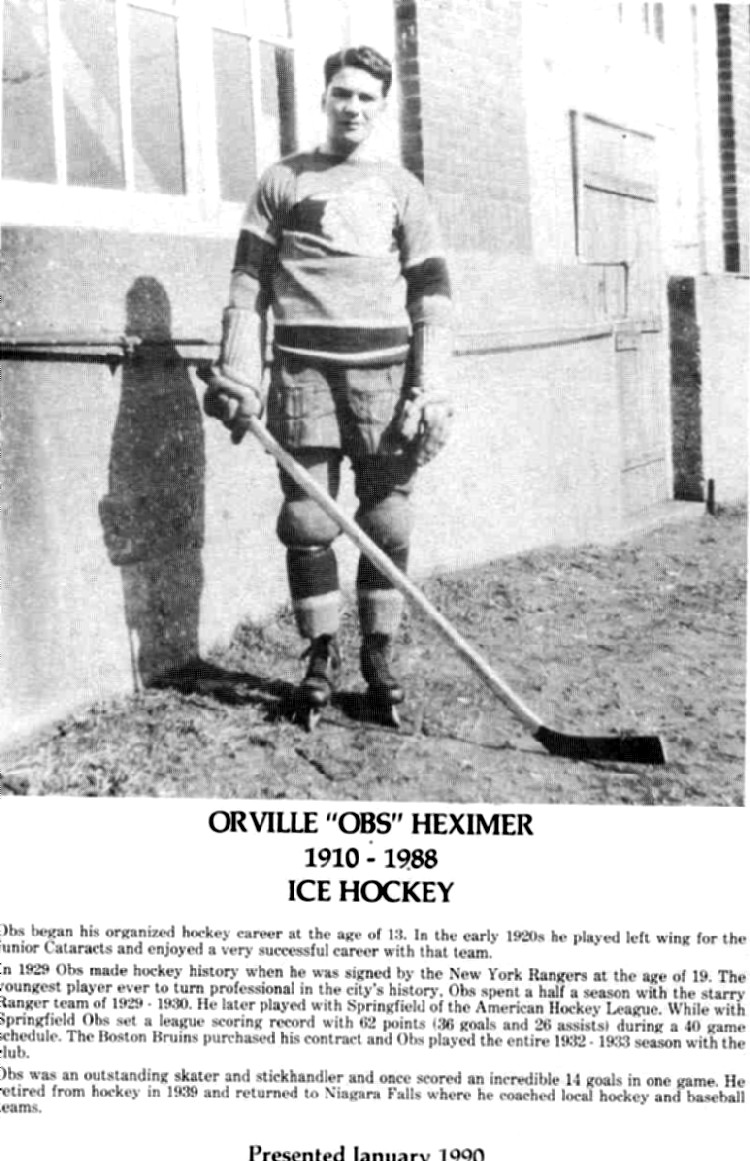 "Niagara Falls Sports Wall of Fame - Orville ""Obs"" Heximer 1910 - 1988 Ice Hockey (image/jpeg)"