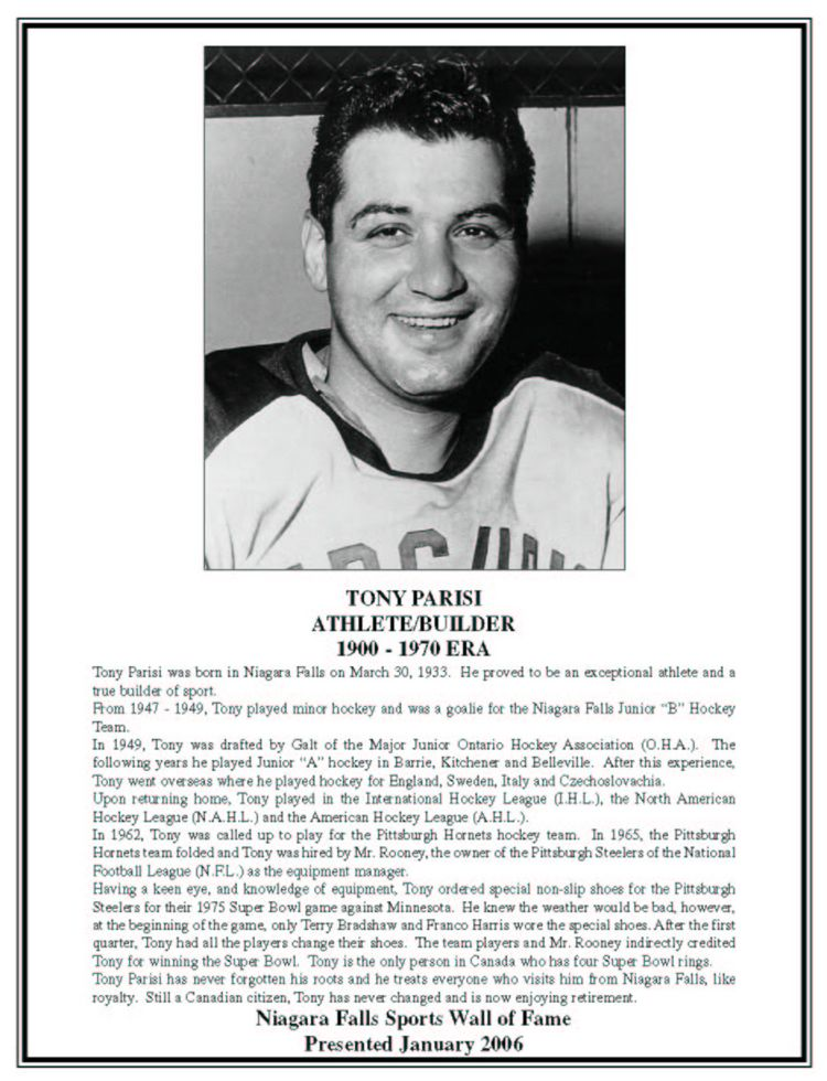 Niagara Falls Sports Wall of Fame - Tony Parisi Builder / Athlete Hockey
