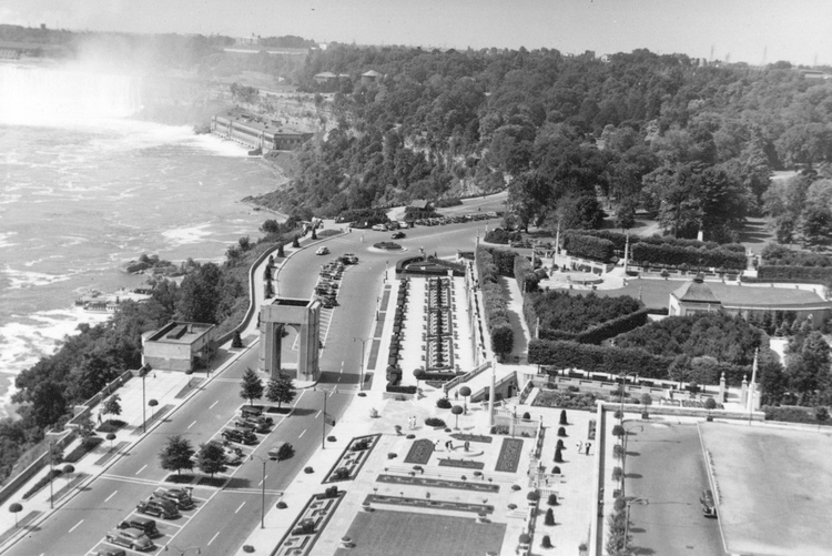Aerial View Of Oakes Garden Theatre And The Canadian