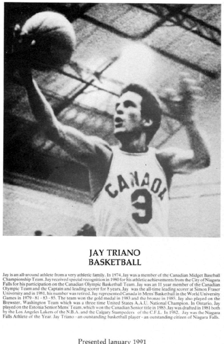 Niagara Falls Sports Wall of Fame - Jay Triano Athlete Basketball (image/jpeg)