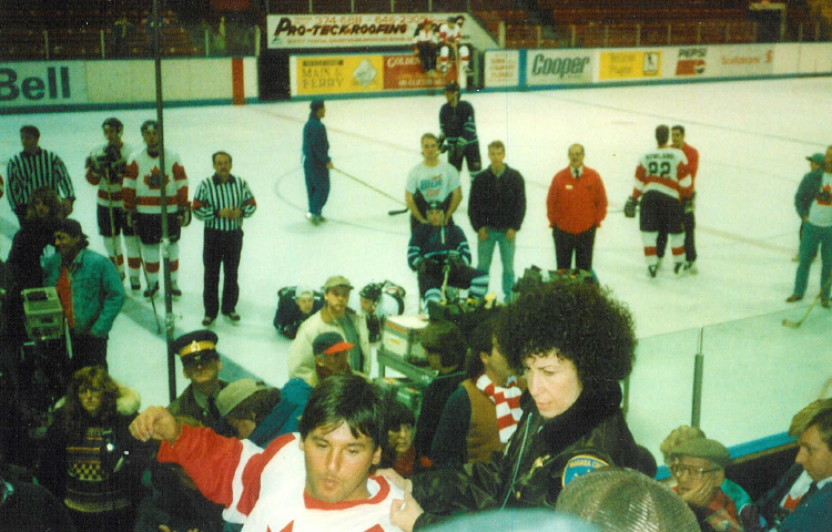 Rhea Pearlman at the Niagara Falls Arena During the Filming of Canadian Bacon (image/jpeg)