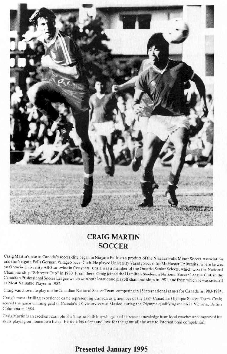 Niagara Falls Sports Wall of Fame - Craig Martin Athlete Soccer era 1971 - 1990 (image/jpeg)